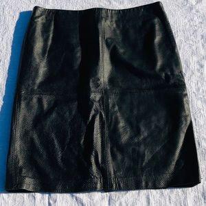 Black Perforated Genuine Leather Skirt**US 12